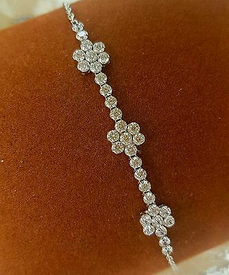 New!1.5ct simulated diamond flower design sterling silver bracelet.