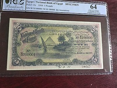 Egypt ,, Banknotes  1916 ,, 5Pounds graded UNC64 Rare