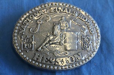Vintage HESSTON NFR 1989 Belt Buckle NATIONAL FINALS RODEO Cowboy Western NIP B