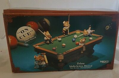 Enesco Animated Pool Table Music Box On Cue Mice Retired 1991 The Entertainer
