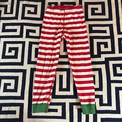 Hanna Andersson Kids US 5 110 cm Red White Striped Green Cuff PJ Pants Christmas