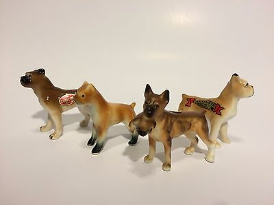 4 Ceramic Dogs Japan Bone China Boxers Rare With Baby In Mouth Lot Etc.