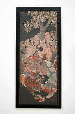Antique Chinese Japanese Painting Woodblock Print On Fabric, Men w Dragon Deity