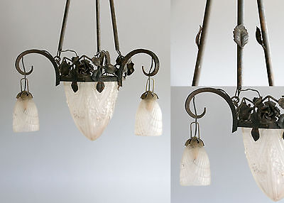 French Art Deco Iron & Glass Chandelier