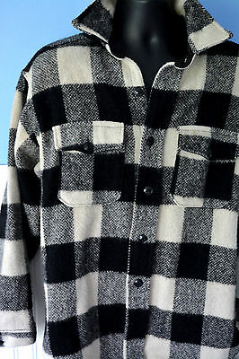 MENS VINTAGE WOOL FRONT BUTTON COAT JACKET Buffalo Plaid MAINE HUNTING  LARGE 18