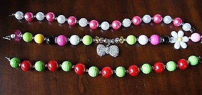Custom Boutique Girls Chunky Beads Necklace LOT