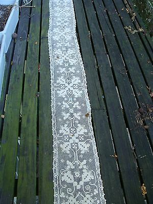 "Antique ~ Vintage Italian Handmade Lace Mantle Runner  10"" x 92"""