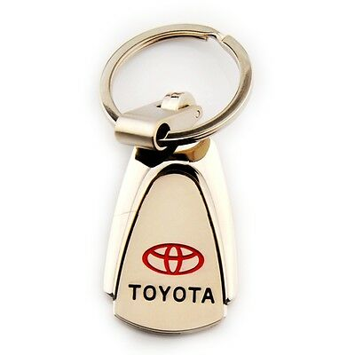 Silver Metal Zinc Alloy Car Logo Keyring 360° Spin Key Chains Holder for Toyota