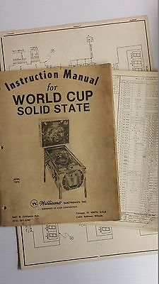 """Williams """" World Cup """" Pinball Operations Schematic Manual"""