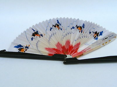 Vintage Oriental Chinese Paper Hand Fan Handpainted  Asian