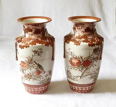 Large And Fine Pair Of Mid 19Th C Japanese Kutani Vases With Fans In Relief
