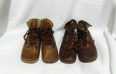 1920's vintage boy's /  toddler or doll shoes, two pair, brown leather