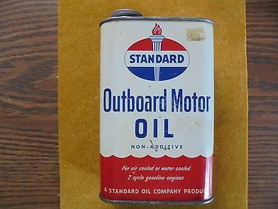 Vintage Standard Oil Outboard Motor Oil Quart Can-Boat-Fishing-Gas & Oil