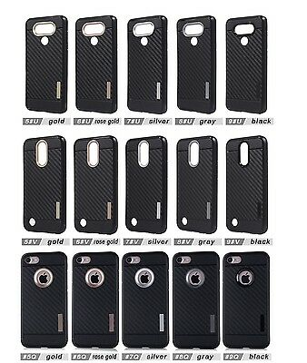 lot 5 carbon fiber Armor TPU Shockproof Protector Case for iphone samsung LG