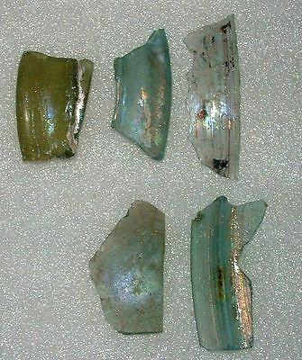 lot of 5 ancient roman glass fragments with very lovely patina amazing.