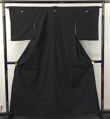 Authentic Japanese black kimono for women, M, imported from Japan (AB1636)