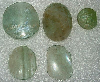 lot of 5 ancient roman glass fragments with very lovely patina  collection..