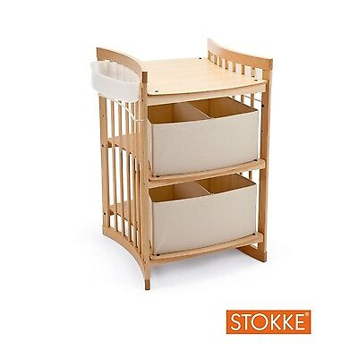 Stokke Changing Table in Natural Wood with Side Storage Boxes (No Drawers)