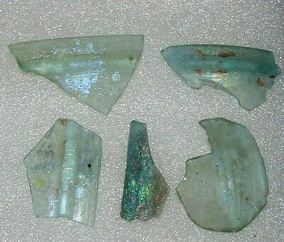 lot of 5 ancient roman glass fragments with very lovely patina  collection.