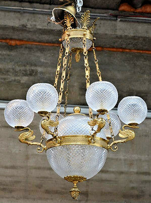 Rare French empire  chandelier Swan arms brass crystal glass shades 6 arms