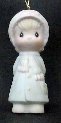 Vintage 1984 Precious Moments Girl Figural Porcelain Ornament Enesco E-5390