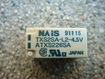 LOT 10 NAIS TXS2SA-L2-4.5V RELAYS - DPDT 4.5VDC 2-Coil LATCHING - New and Unused