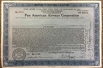 Vintage 1945 Pan American Airways Corporation, Warrant To Purchase 100 Shares