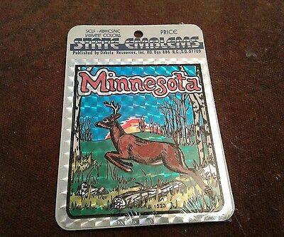 Minnesota Emblem State Made In USA NIP sticker label deer 1523 Emblems