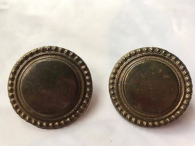Pair Antique Fancy Metal Button Horse Bridle Rosettes