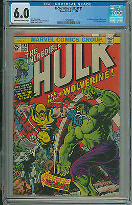 Incredible Hulk #181 CGC 6.0 1st App Wolverine Marvel 1974