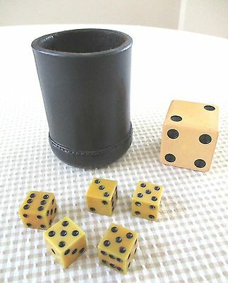 Stitched Leather Vintage Dice Cup with Dice
