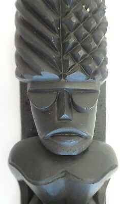 Black Lava TIKI Statue by Coco Joe Souvenir made in Hawaii 1967