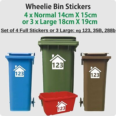 4 x WHEELIE BIN STICKERS NUMBERS CUSTOM HOUSE NUMBER VINYL GRAPHIC DECAL HS1