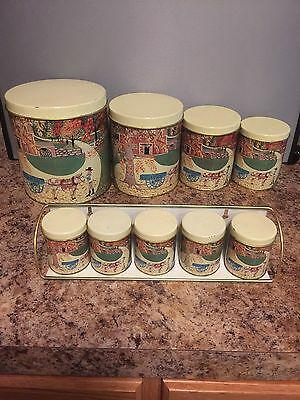 Vintage Made In Brazil Meister Nesting Canisters And Spice Set With Rack