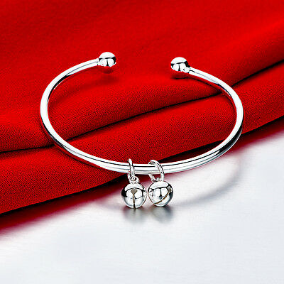925 Sterling Silver Charm Round Bangle Women's Men Fashion Heart Bracelet DLH279