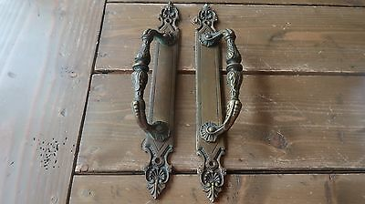 Matching Pair of Antique Ornate Brass Door Pull Handle