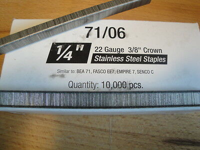 "Stainless Steel Upholstery Staples 71 Series 3/8"" Crown 1/4"" Leg Outdoor Boat"