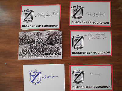 6 Different Black Sheep Squadron SIGNED Index Cards