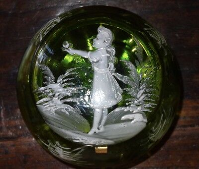 Stunning Bottle Green Mary Gregory Dresser Powder Box Jar Art Glass Girl Flower