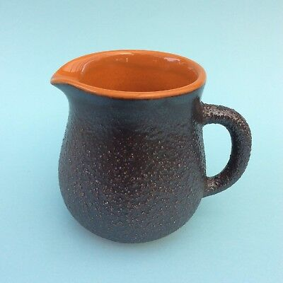 RETRO AUSTRALIAN HANSTAN POTTERY JUG Orange & Brown Classic 70s Textured Glaze