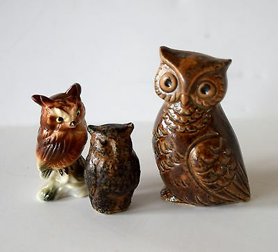 Lot Of 3 Vintage Owls Ceramic Small Figurines Miniature Decor Home Collectible
