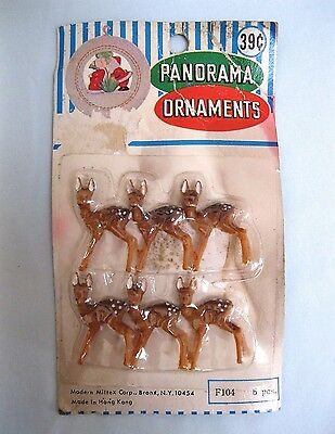 Vintage Hong Kong Miniature Fawn Deer Plastic Panorama Figurines Pkg Of 6 Mint