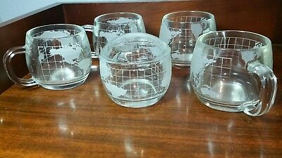 Nescafe Nestle Glass Etched Globe World Covered Sugar Bowl & LId & 4 MUGS/CUPS