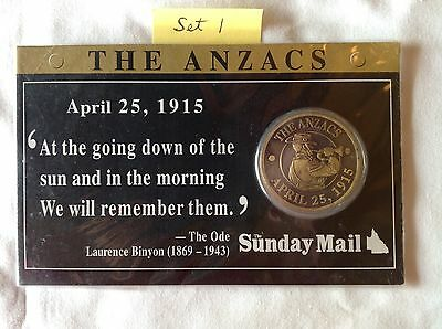 The Anzacs April 25, 1915 Medal issued by the Sunday Mail – Set 1