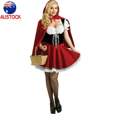 AU Adult Little Red Riding Hood Costume Women Halloween Outfit Plus Size M-6XL