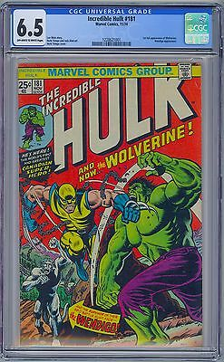 INCREDIBLE HULK #181 - CGC 6.5 OW-WP FN+ First WOLVERINE