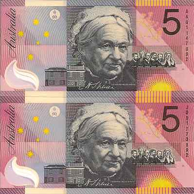 """Pair Of 2001 Unc First & Last Prefix """"aa 01 & Jd 01"""" $5 Banknotes """"ending: """"092"""""""