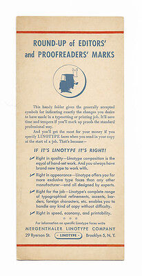 © 1952 Mergenthaler Linotype Editors and Proofreader's Marks Guide