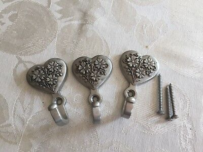Longaberger Pewter Heart Wall Hooks