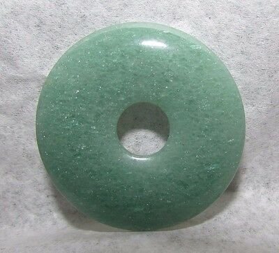 Vintage Chinese Natural Celadon Jade Bi Disc Amulet Hand-Carved Gemstone 1 5/8""
